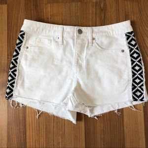 Universal Thread White Shorts with Aztec print